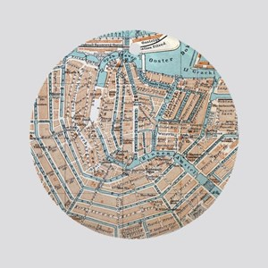 Vintage Map of Amsterdam (1905) Ornament (Round)