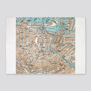 Vintage Map of Amsterdam (1905) 5'x7'Area Rug