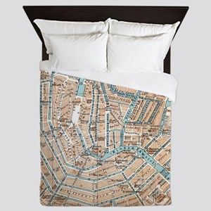 Vintage Map of Amsterdam (1905) Queen Duvet
