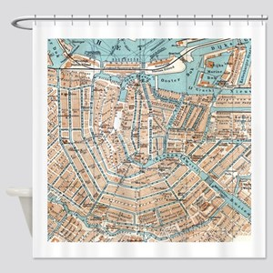 Vintage Map of Amsterdam (1905) Shower Curtain