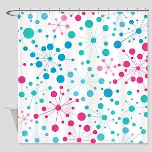 Retro Dots Aqua and Pink Shower Curtain