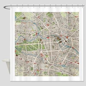 Vintage Map of Berlin Germany (1905) Shower Curtai