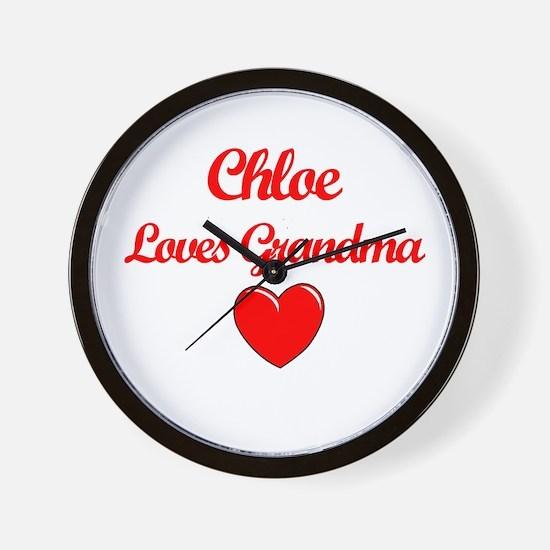 Chloe Loves Grandma Wall Clock