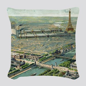 Vintage Pictorial Map of Paris (1900) Woven Throw