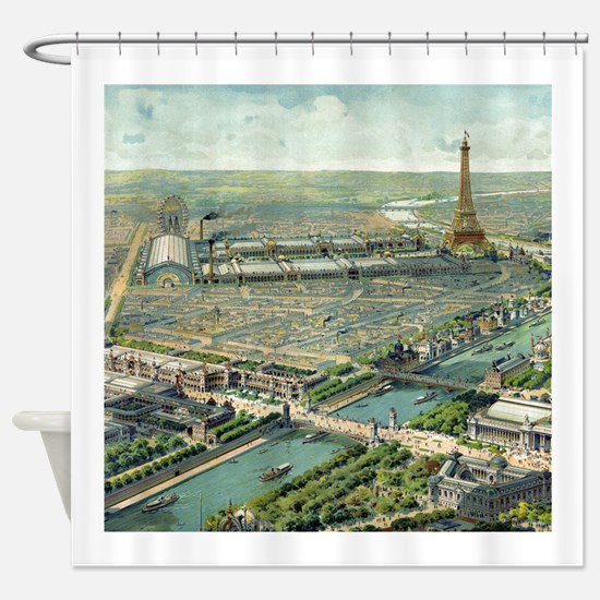 Vintage Pictorial Map of Paris (1900) Shower Curta