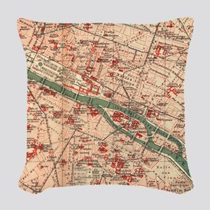 Vintage Map of Paris France (1910) Woven Throw Pil
