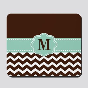 Brown Green Chevron Monogram Mousepad