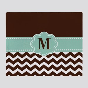 Brown Green Chevron Monogram Throw Blanket