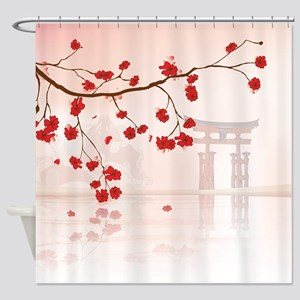Japanese Shrine at Miyajima Shower Curtain