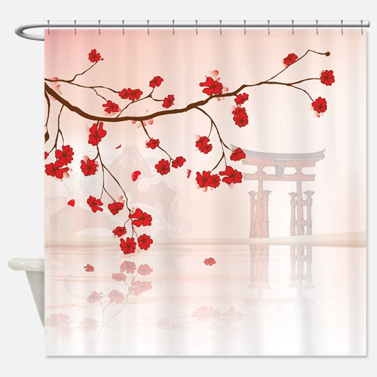 Japanese Shrine at Miyajima Shower Curtain