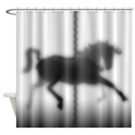 Carousel Horse Silhouette Shower Curtain