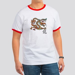 Ringer T-shirt with Asian Dragon