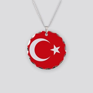 Flag of Turkey Necklace Circle Charm