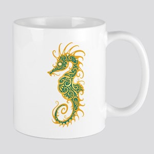 Intricate Golden Blue Tribal Seahorse Mugs