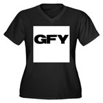 GFY Women's Plus Size V-Neck Dark T-Shirt