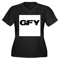 GFY Women's Plus Size V-Neck Dark T-Shirt
