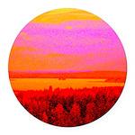 Sunset glow Round Car Magnet