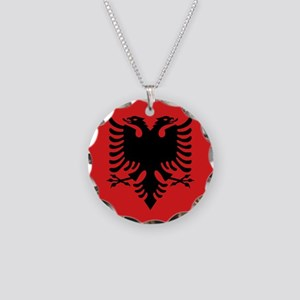 Flag of Albania Necklace Circle Charm