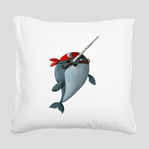 Pirate Narwhals Square Canvas Pillow