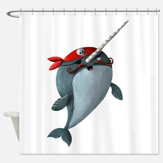 Pirate Narwhals Shower Curtain