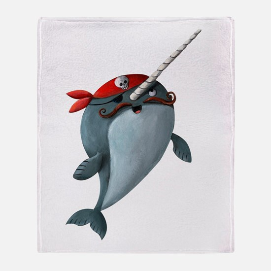 Pirate Narwhals Throw Blanket