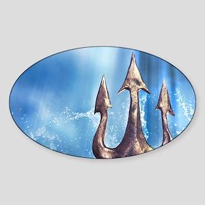 Poseidons Trident Sticker (Oval)