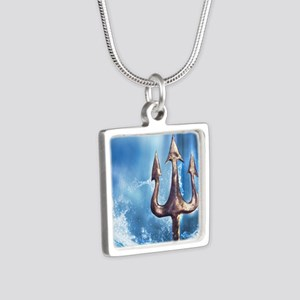 Poseidons Trident Silver Square Necklace