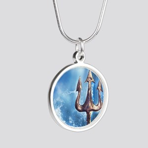 Poseidons Trident Silver Round Necklace