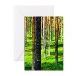 Pine forest Greeting Cards