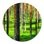 Pine forest Round Car Magnet