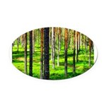 Pine forest Oval Car Magnet