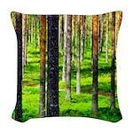 Pine forest Woven Throw Pillow