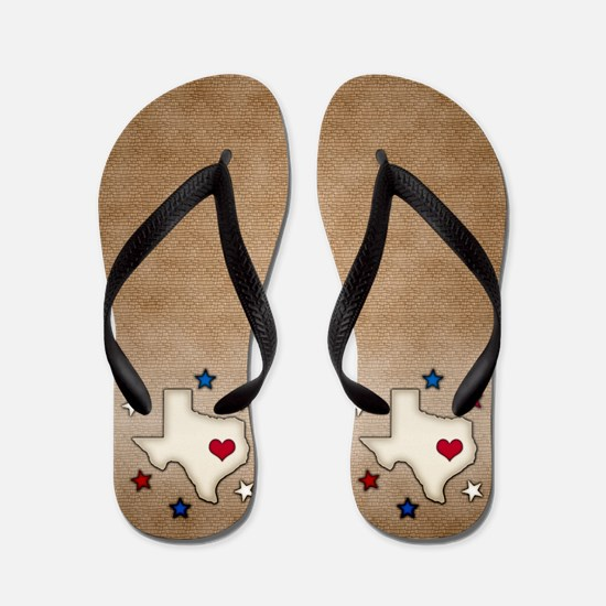 Texas Red Heart Flip Flops