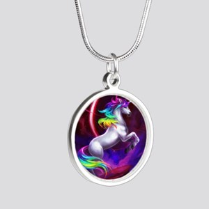 Unicorn Silver Round Necklace