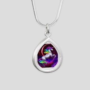 Unicorn Silver Teardrop Necklace