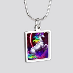 Unicorn Silver Square Necklace