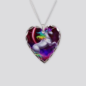 Unicorn Necklace Heart Charm