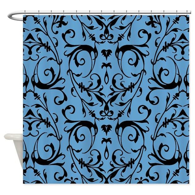 blue and black damask pattern shower curtain by artandornament. Black Bedroom Furniture Sets. Home Design Ideas