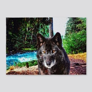 Old Man Wolf 5'x7'Area Rug
