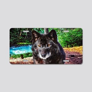 Old Man Wolf Aluminum License Plate