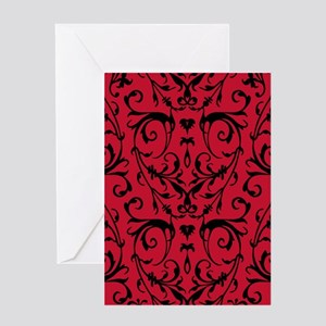 Red And Black Damask Pattern Greeting Cards