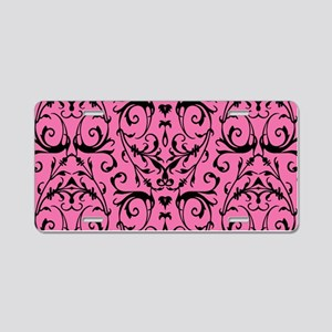 Pink And Black Damask Pattern Aluminum License Pla