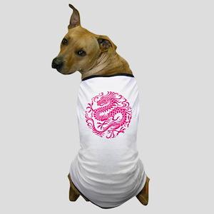 Traditional Pink Chinese Dragon Circle Dog T-Shirt