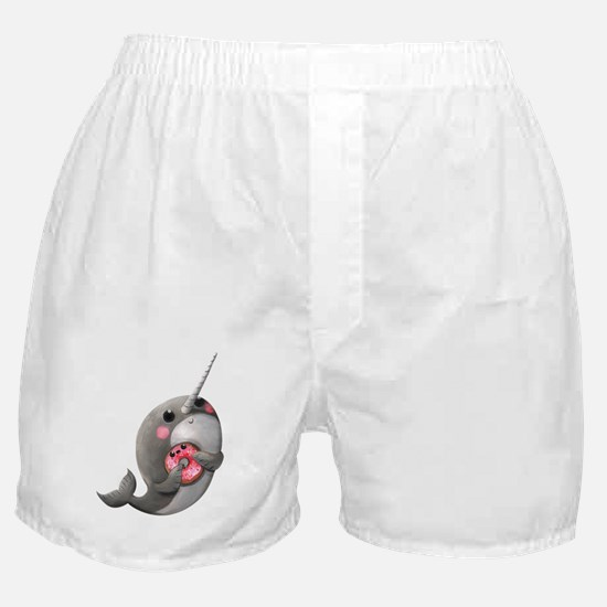 Cute Narwhal with Donut Boxer Shorts