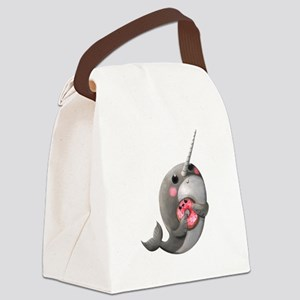 Cute Narwhal with Donut Canvas Lunch Bag