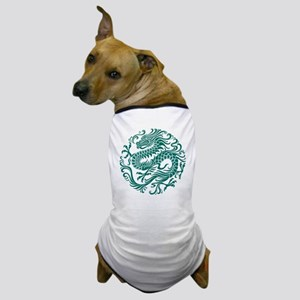 Traditional Teal Blue Chinese Dragon Cir Dog T-Shi