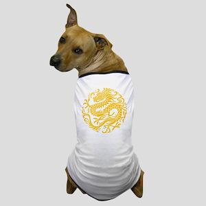 Traditional Yellow Chinese Dragon Circle Dog T-Shi