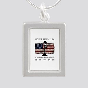 Honor The Fallen Silver Portrait Necklace