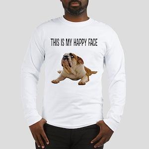FIN-happy-face-bulldog-CROP Long Sleeve T-Shirt