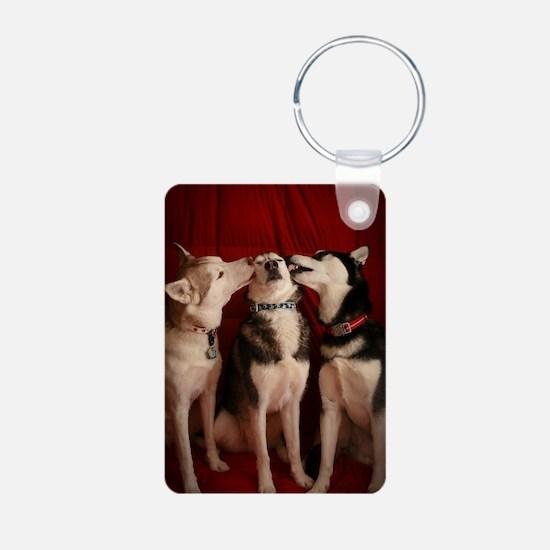 Kissing Huskies Keychains